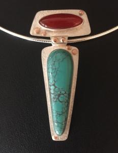 Carnelian / Turquoise Pendant