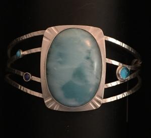 Larimar Cuff with Turquoise, Lapis & Glass