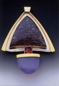 Dinosaur Bone, Garnet, Agate Pin - Pendant