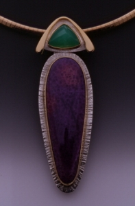 Chrysophrase & Sugilite Pin - Pendant