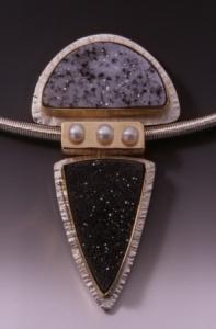 Drusy Quartz & Pearls Pendant